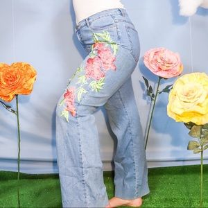 Fun High Rise Floral Embroidered Flare Jeans